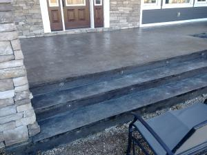 Stamped steps outside veranda