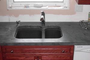 Concrete countertop kitchen sink