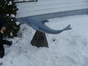 Decorative concrete art dolphin house numbers 224