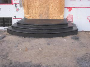 Decorative concrete black steps with lip
