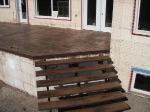 Decorative stamped concrete deck steps