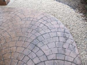 European fan decorative stamped concrete firepit
