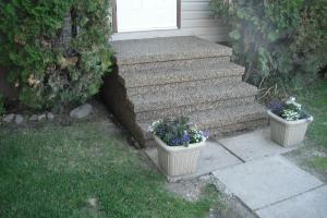 Exposed aggregate concrete front step