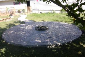 Stamped decorative concrete firepit
